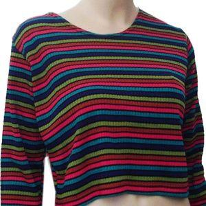 New FULL MOON Bold Knit Stripe Maternity Top S